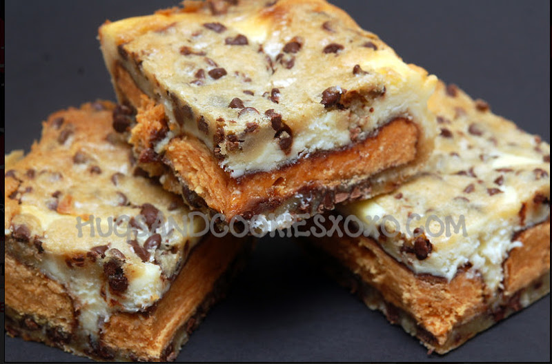Butterfinger & Cookie Dough Cheesecake Bars - Hugs and ...