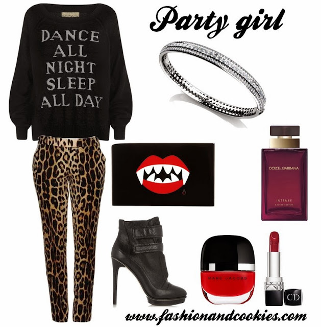 Party girl look, Fashion and Cookies, Moschino leopard print pants, Wildfox dance all night sweater, fashion blogger, anjolee diamond bangle