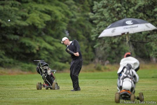 Russell Mitchell, Maraenui Golf Club, Napier, chipping onto the green in the third round of the Greenwood Cup at Waipukurau Golf Club, Waipukurau. photograph
