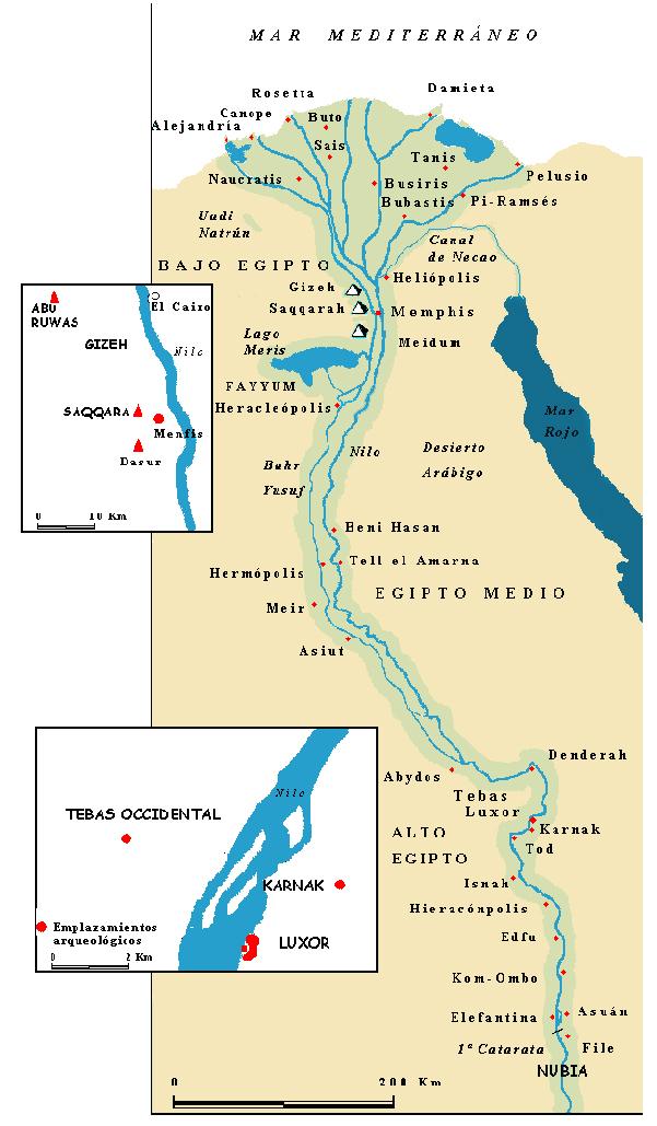 Egipto  su Cultura Mapa del Egipto faranico  El munod antiguo