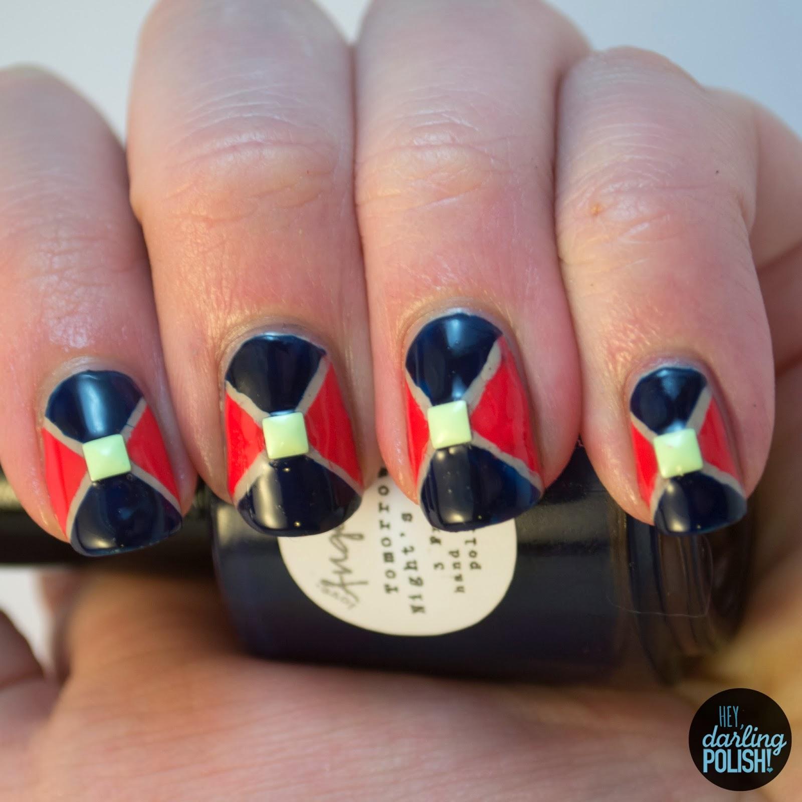 nails, nail polish, nail art, geometric, triangles, studs, hey darling polish, theme buffet,