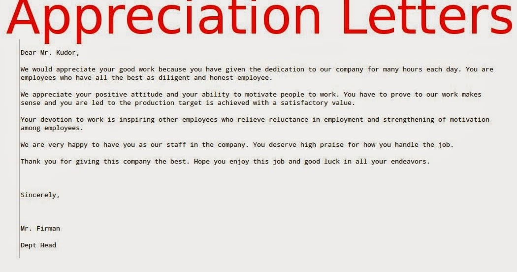 Appreciation Letters To Employees  Samples Business Letters