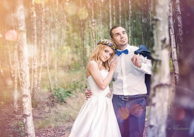 """Folkowy ślub, biżuteria z sutaszu """"Say YES""""."""