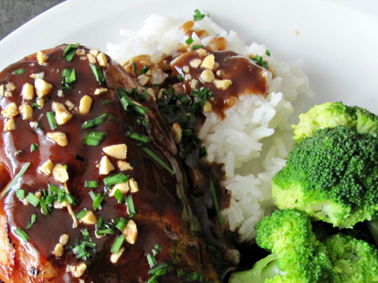 Spicy Peanut Chicken with Rice and Broccoli