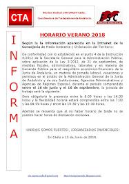 HORARIO VERANO 2018