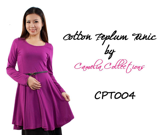 cotton peplum tunic magenta