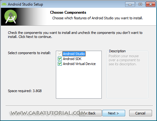Choose Components Android Studio Installation