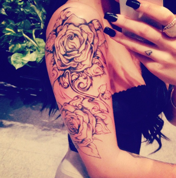 Girl Shoulder Rose Tattoo