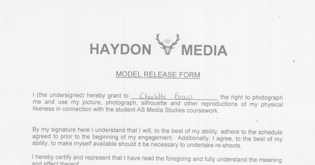 Charlotte Brown As Media Coursework Model Release Form