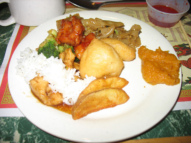 Sweet and Sour Chicken and Lo Mein at Hudson Buffet