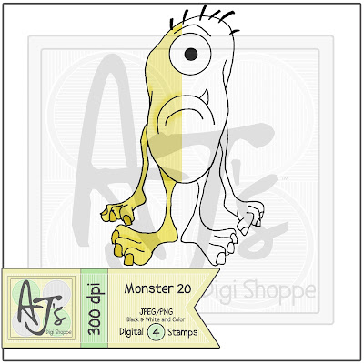 Monster 20 Black/White and Color Digital Stamp