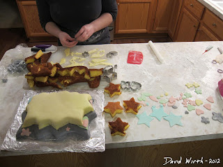 steps, ingredients to make a great cake, fondant covered