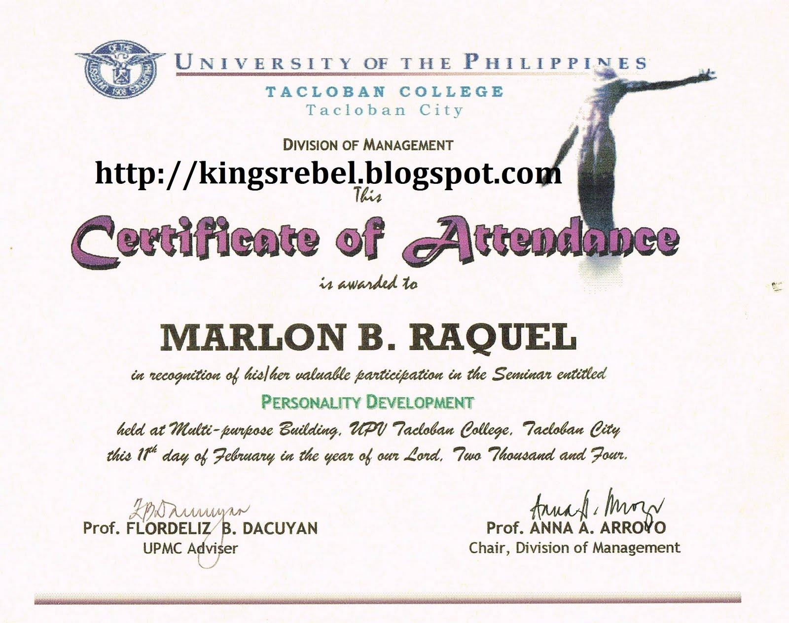 Sample certificate of seminar choice image certificate design participation certificate seminar yadclub choice image yadclub Images