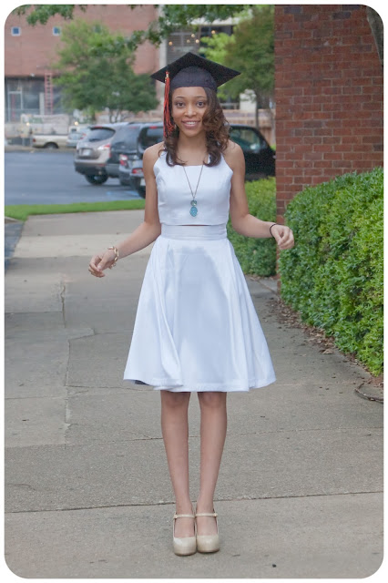 Simplicity 1099 - Made in white stretch satin for a great Graduation dress option! Erica B's DIY Style!