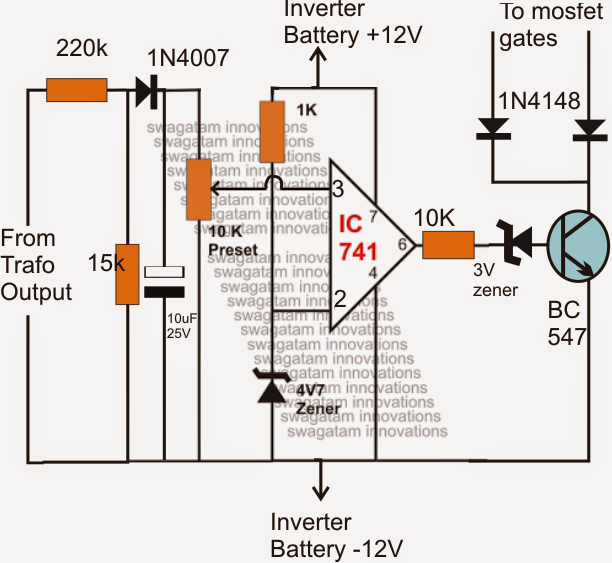 automatic output voltage regulator circuit for inverters