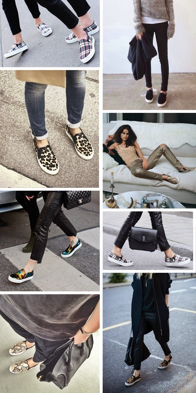 slip on trainers, inspirational board, leopard slip ons, black, tartan print slip on shoes, style blog blogger, fashion blogger, trends, spring 2014 trend trendy