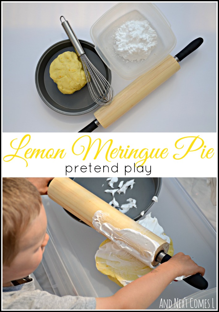 Messy sensory play for kids with lemon scented play dough from And Next Comes L