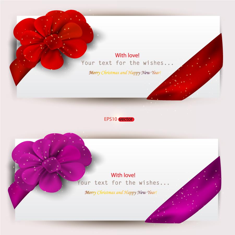 リボン飾りがお洒落なテキスト バナー Valentines Day Set of Web Banners イラスト素材