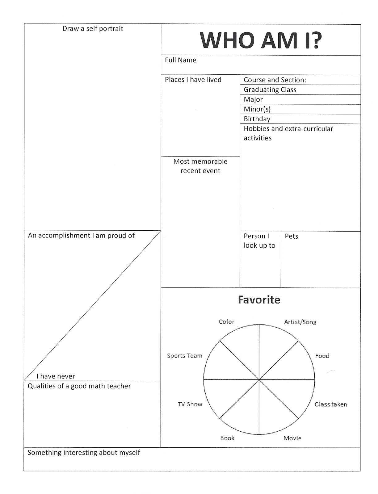 First Day Plan Calculus I – Who Am I Worksheet