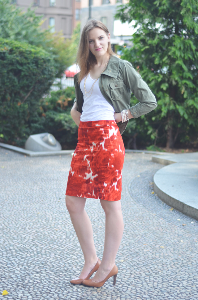 J.Crew Factory Printed Pencil Skirt in Stretched Cotton