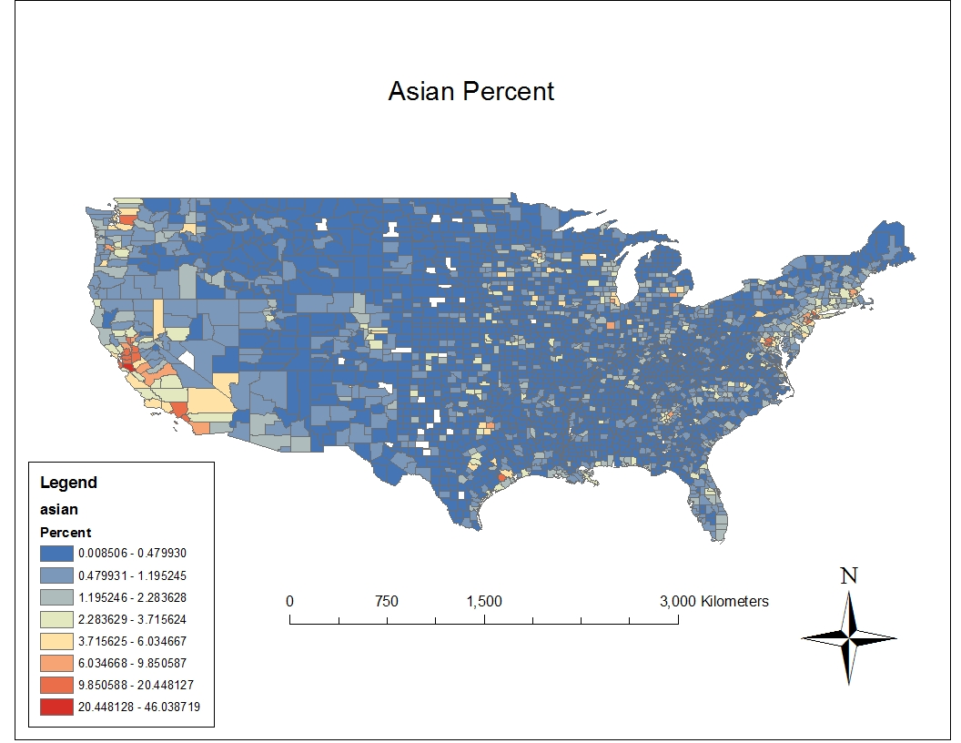 this map is the same u s counties map but instead of overlaying the counties with the 2000 census data for percent of population being black