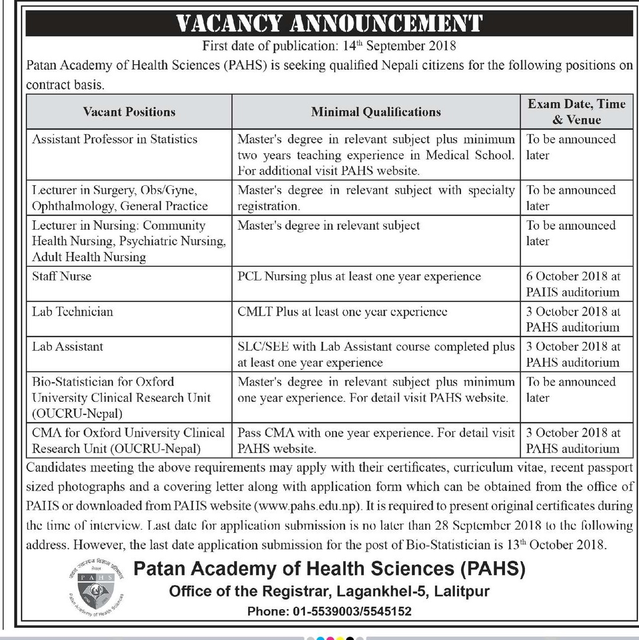 Vacancy For Lecturer In Ophthalmology And Various Medical Post At