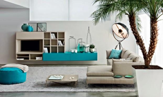Novamobili Beige Turquoise Contemporary Living Room Part 23