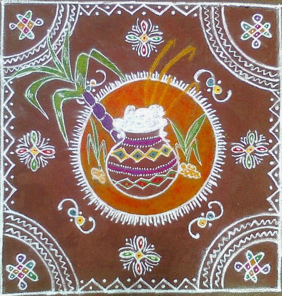 makar sankranti hand made rangoli