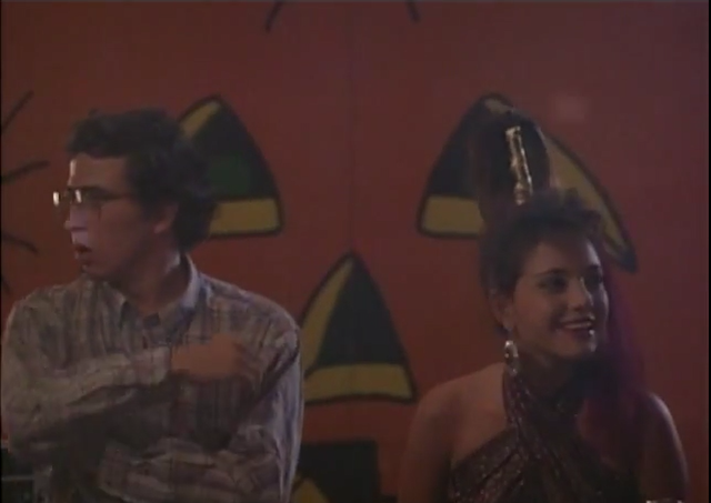 Roger (Glen Morgan) and Leslie (Lisa Orgolini) at the Halloween dance.