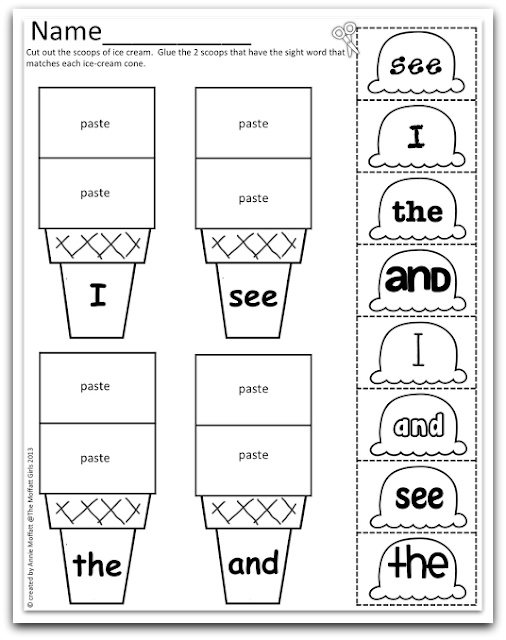 Word word Sight Sampler worksheet FREEBIE! girl sight