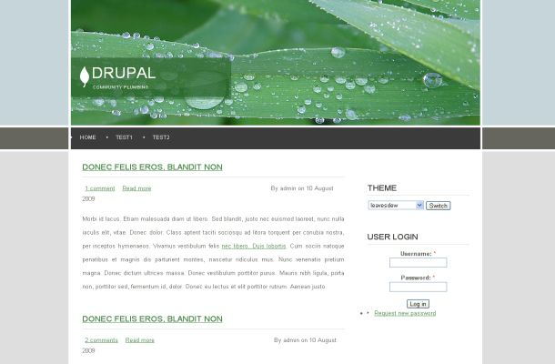 Free leaves green nature drupal theme template