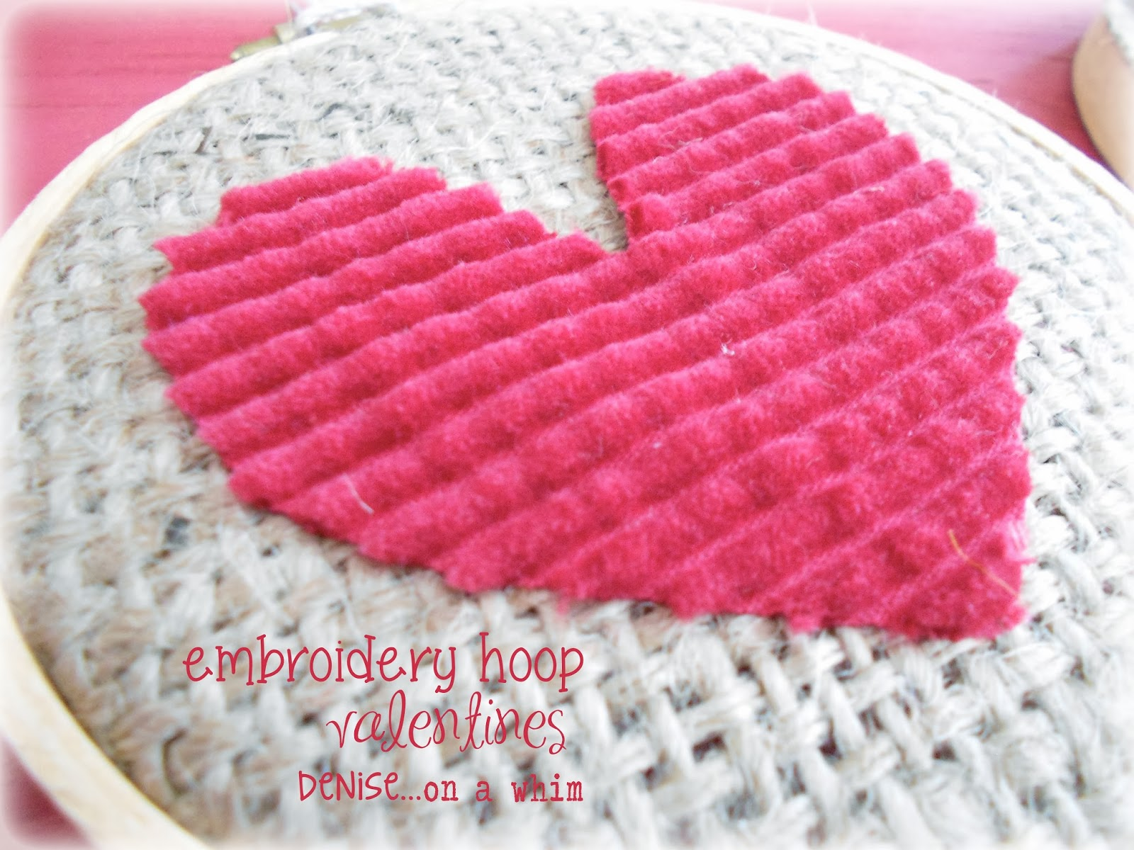 Corduroy Scrap Heart on Burlap via http://deniseonawhim.blogspot.com