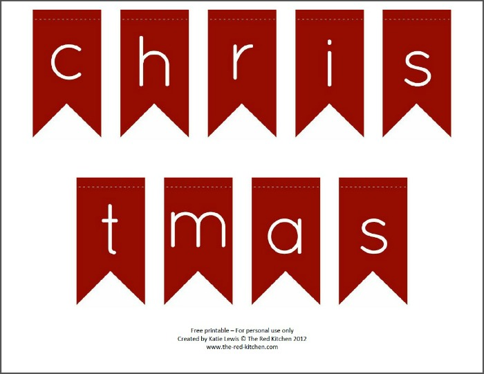 picture about Merry Christmas Banner Printable identify the purple kitchen area: Merry Xmas! (Cost-free Printable Pendant