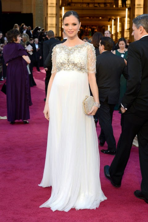 Georgina Chapman's pregnant style in Marchesa at the 2013 Academy Awards