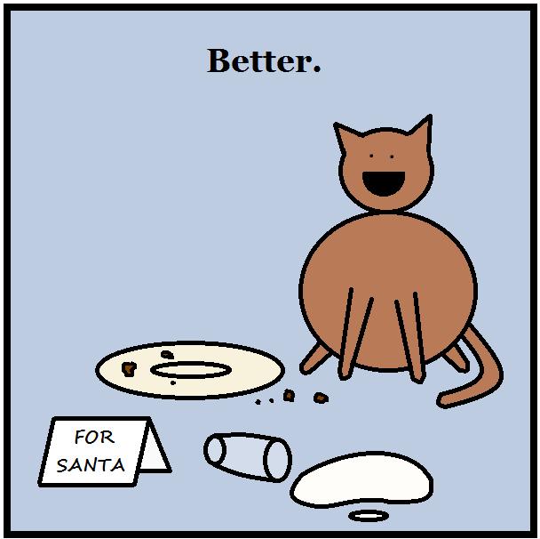 cat ruining Santa's food