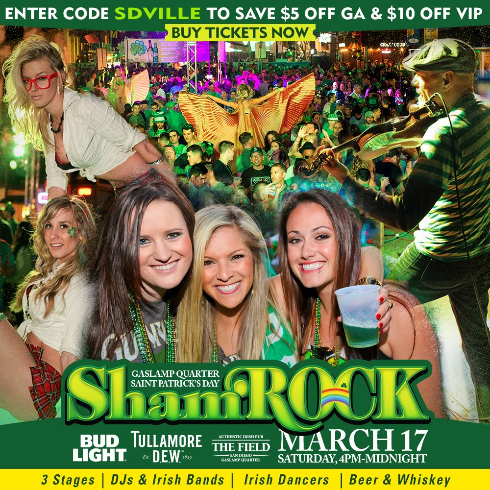 San Diego's ShamROCK St. Paddy's Day Bash Returns on Saturday, March 17!