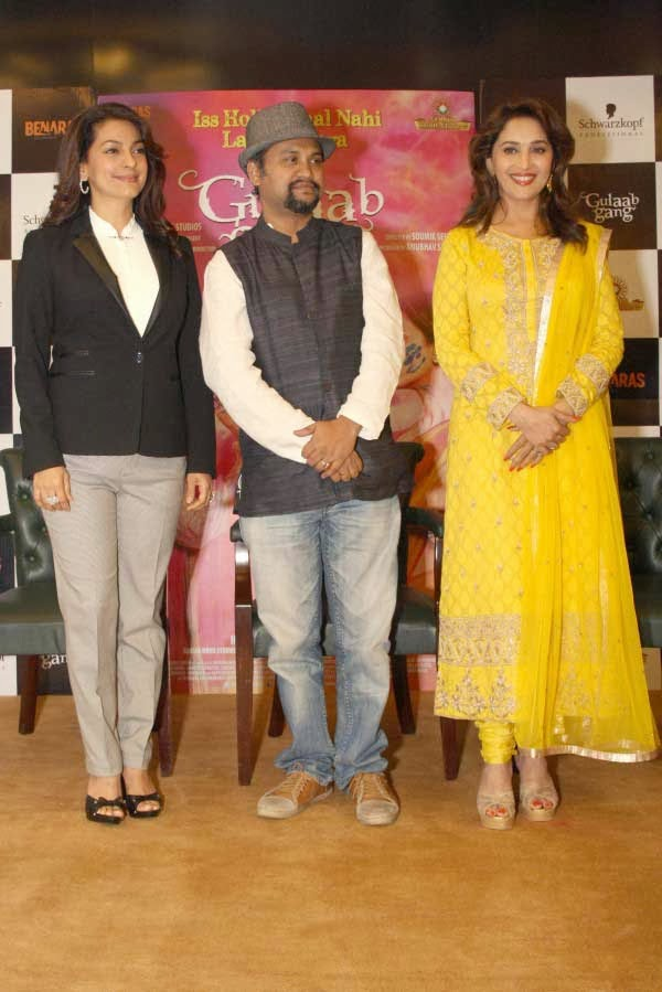 Madhuri Dixit and Juhi Chawla during the Promotion of `Gulaab Gang`