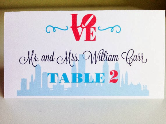 Philadelphia Wedding Place Cards by Designed By M.E. Stationery