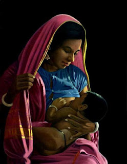 Breast feeding painting 1950 East Indian