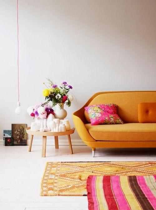 decoracion escandinava naranja y fucsia