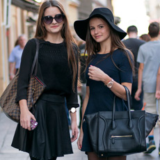 Sestrične Marija i Iva Pandurević, floppy hat and Celine bag