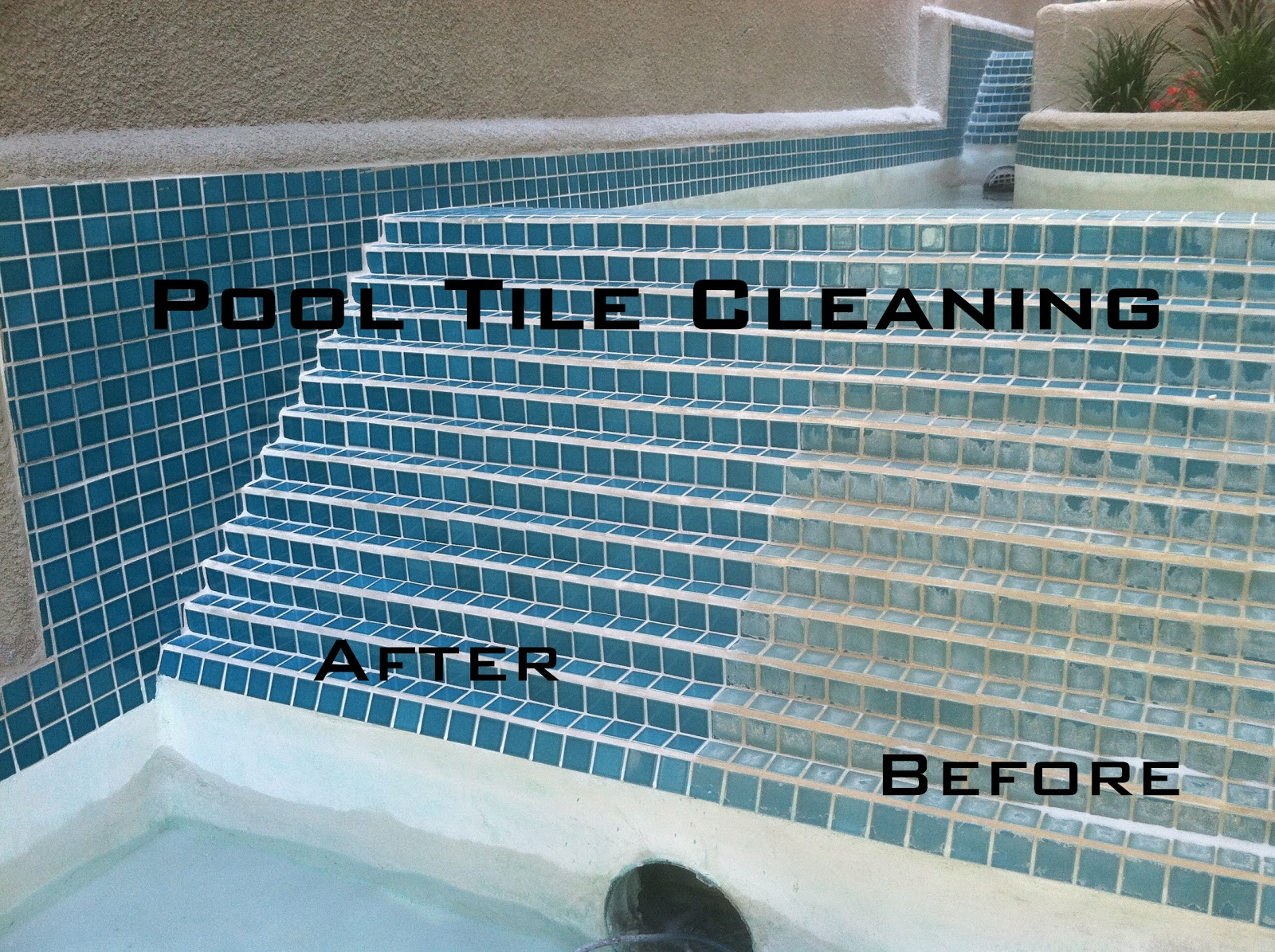 Pool tile cleaning pro 877 835 8763 orange county los angeles riverside palm springs riverside for How to clean mosaic tiles in swimming pool