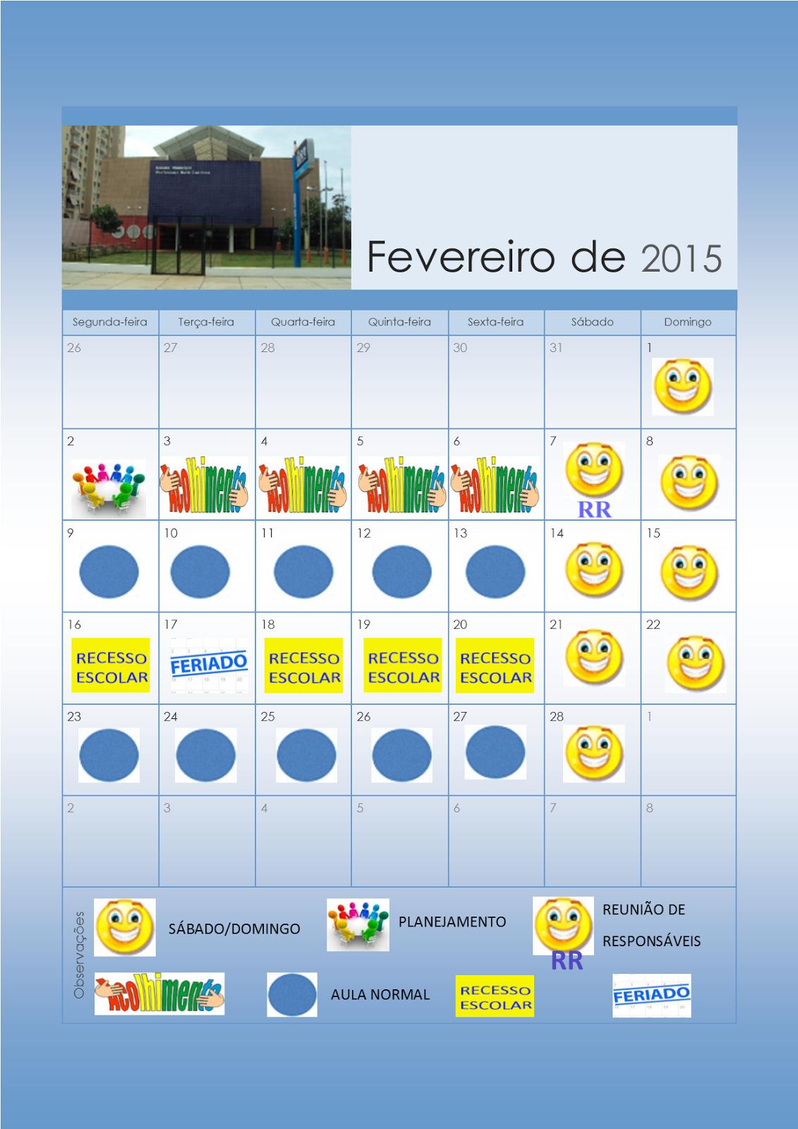 Calendário Educação Infantil Fevereiro 2015
