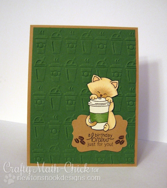 Coffee Cat Birthday Card by Crafty Math-Chick | Newton Loves Coffee Stamp set by Newton's Nook Designs #newtonsnook #coffee