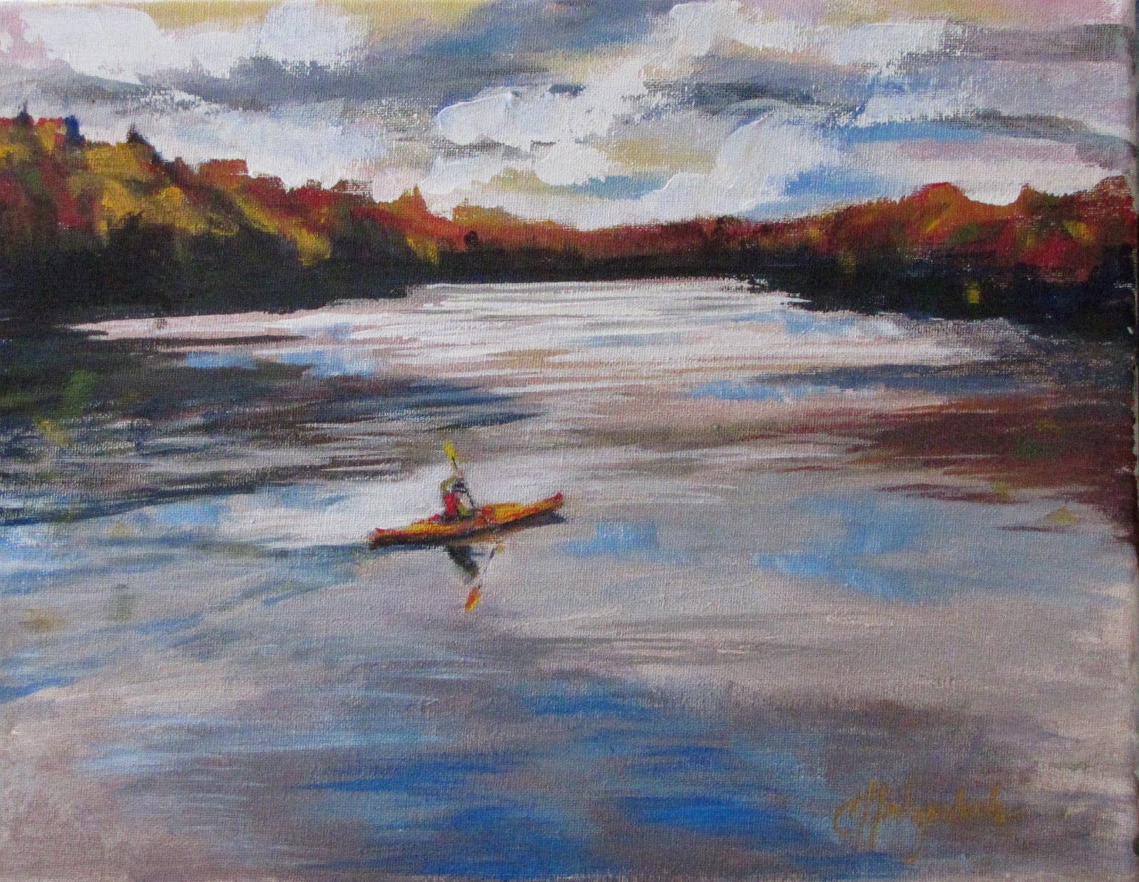 Quiet chilly autumn morning wrapped in a kayak doing the paddle dance