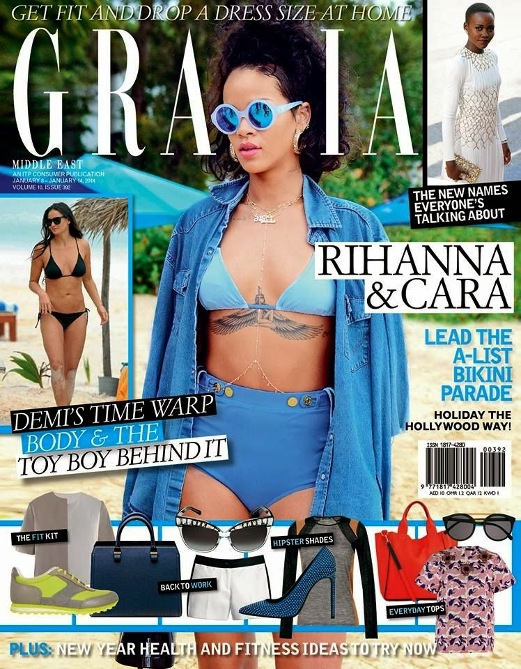 Magazine Cover : Rihanna Magazine Photoshoot Pics on Grazia Magazine UAE January 2014 Issue
