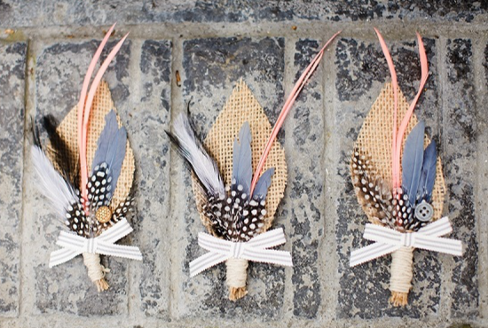 alternative boutonnieres, Etsy, groom, feathers