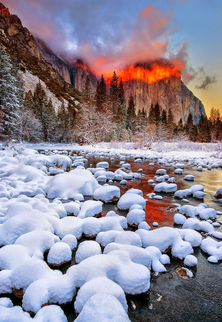 Winter Sun Set At Yosemite National Park, California