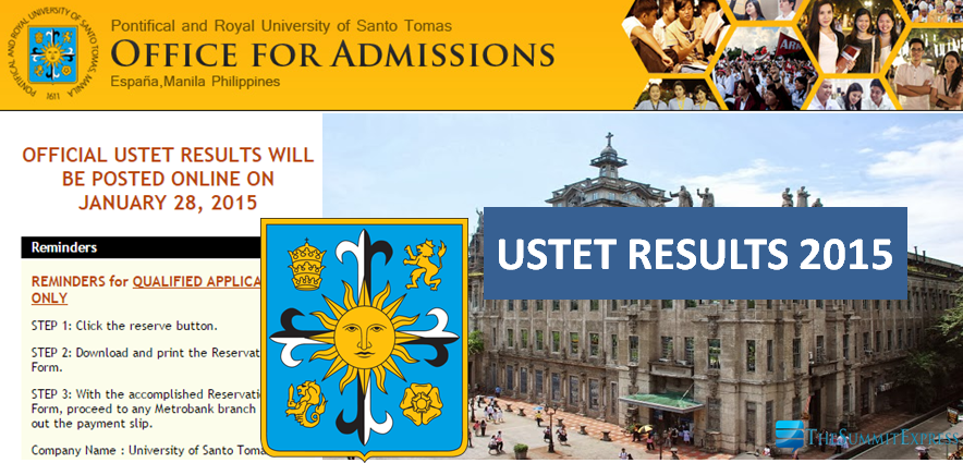 UST releases official USTET results AY 2015-2016 Online