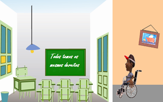 Debuxo dunha persoa de raza negra en cadeira de rodas que se dispón a entrar nunha aula